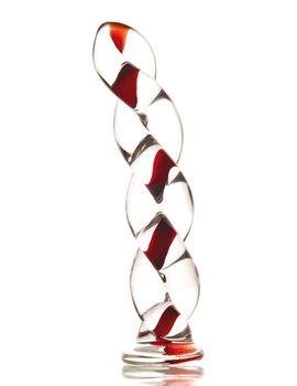 Стеклянный фаллос в виде косички - 18 см.