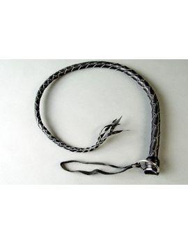 Черная кожаная однохвостая плеть - 60 см.