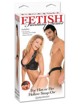 Полый страпон унисекс телесного цвета For Him or Her Hollow Strap-On - 15 см.
