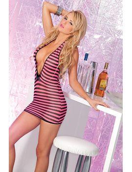 Чёрно-розовое платье-сетка с глубоким декольте