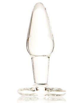 Стеклянная анальная втулка с ограничителем - 12 см.