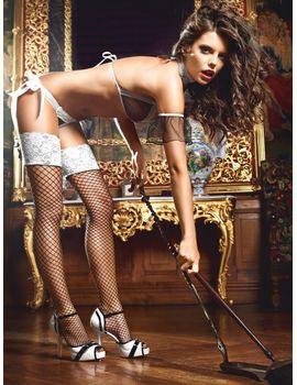 Высокие чёрные чулки служанки Five Star French Maid в сетку