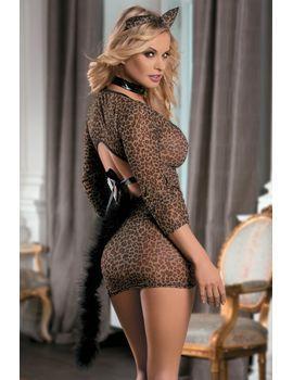 Эротический костюм кошки: платье, трусики-стринг, галстук и ушки