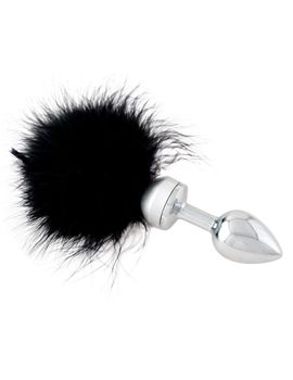 Малая анальная втулка с черной опушкой - 8,5 см.