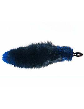 Черная анальная пробка с синим лисьим хвостом