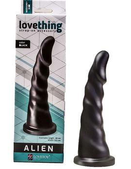 Чёрная насадка-фаллос для страпона со спиралевидным рельефом - 18 см.