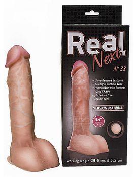 Крупный фаллоимитатор на подошве-присоске REAL Next №33 - 24 см.