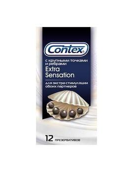Презервативы с крупными точками и рёбрами Contex Extra Sensation - 12 шт.
