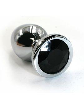 Серебристая алюминиевая анальная пробка с чёрным кристаллом - 6 см.