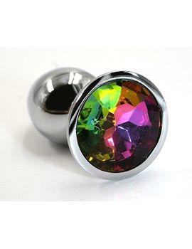Серебристая алюминиевая анальная пробка с радужным кристаллом - 6 см.