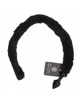 Чёрная анальная пробка с кошачьим хвостом Kitty Tail