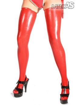 Красные латексные чулочки