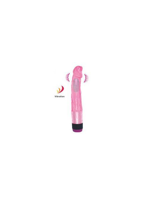 Вибромассажер рельефный розового цвета - 22,5 см.