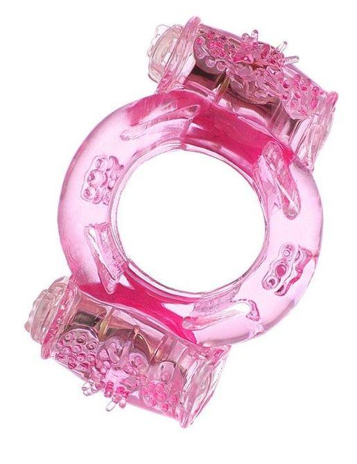 Розовое виброкольцо с двумя батарейками