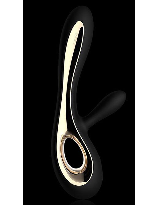Черный вибратор с клиторальным отростком Soraya Black - 22 см.