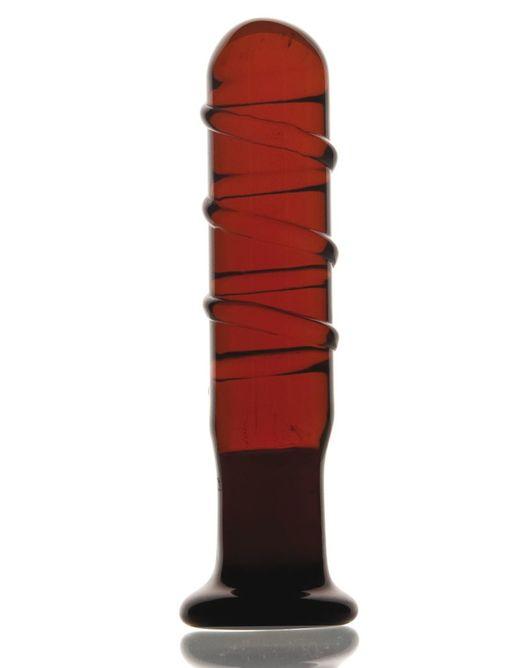 Стеклянный фаллос со спиралями - 12 см.