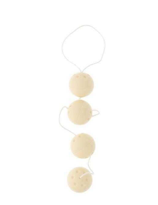 Бусы из 4 вагинальных шариков молочного цвета