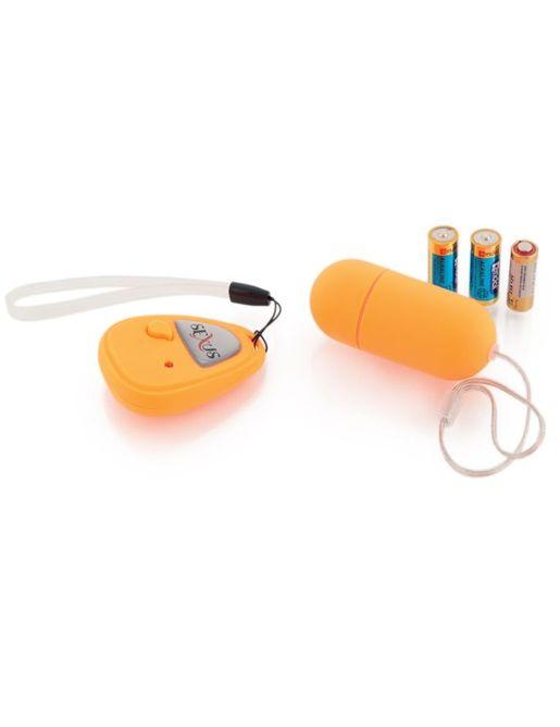 Оранжевое виброяйцо с дистанционным управлением - 7 см.