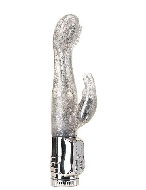 Вибратор с блёстками и клиторальным стимулятором WATERPROOF ROTATING G-SPOT RABBIT - 17,5 см.