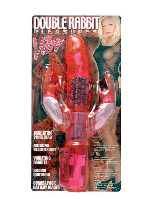 Розовый вибратор с вращающимися шариками и двумя отростками-зайцами - 25 см.