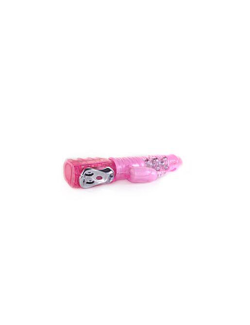 Розовый мультискоростной вибратор с ротацией и клиторальным стимулятором - 26 см.