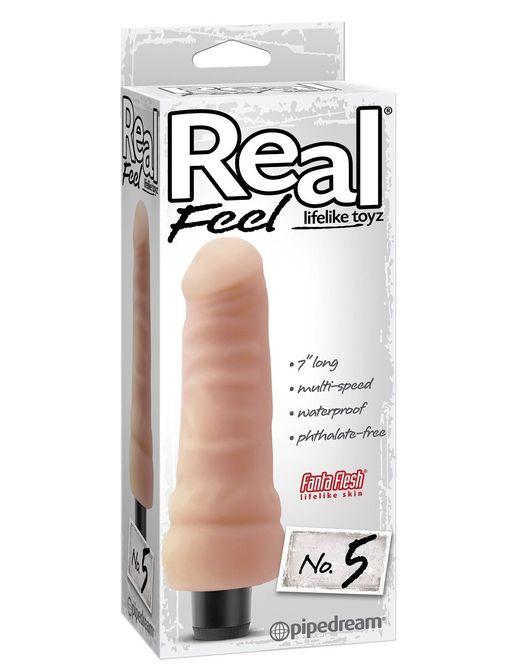 Реалистичный вибромассажер Real Feel Lifelike Toyz №5 - 17,8 см.