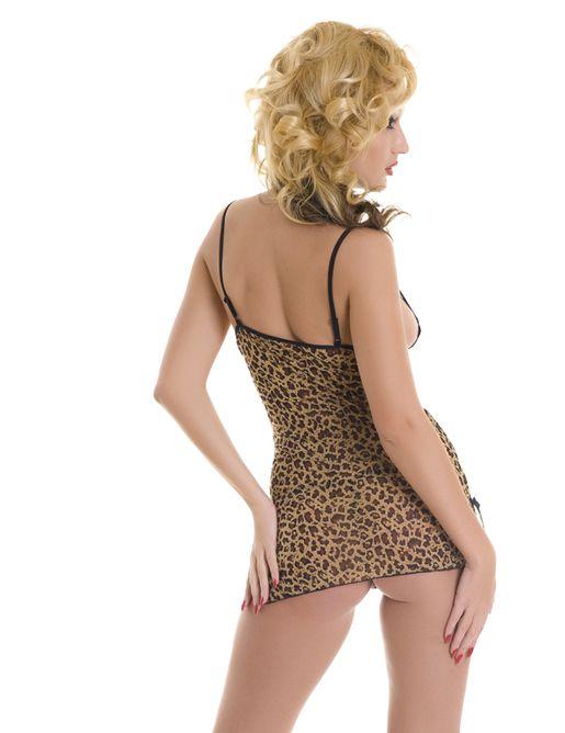 Леопардовая сорочка с кружевным лифом и трусики-стринг