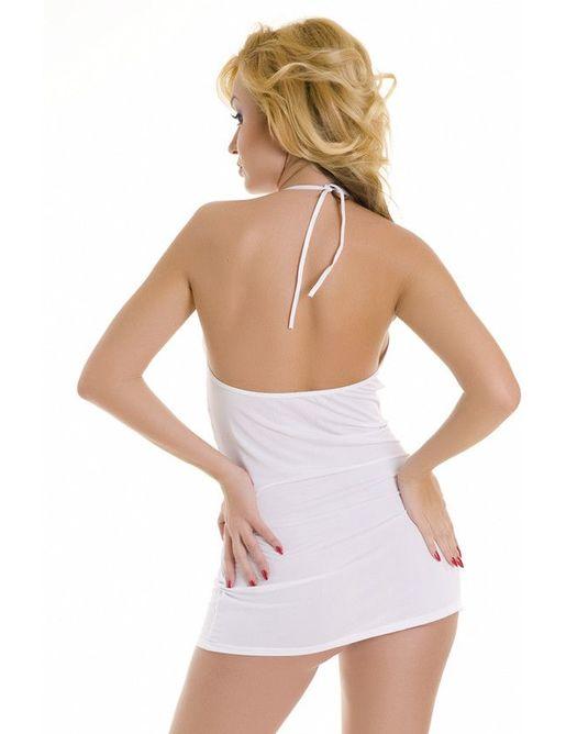 Платье с тонкими лямочками и пряжками под грудью