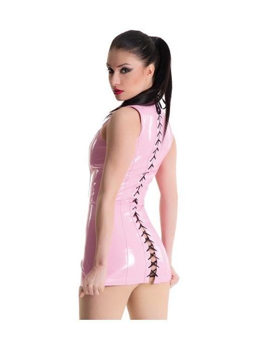 Платье с воротником-стойкой и шнуровкой сзади