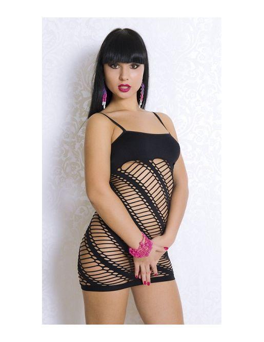 Черное платье-сетка с непрозрачным верхом