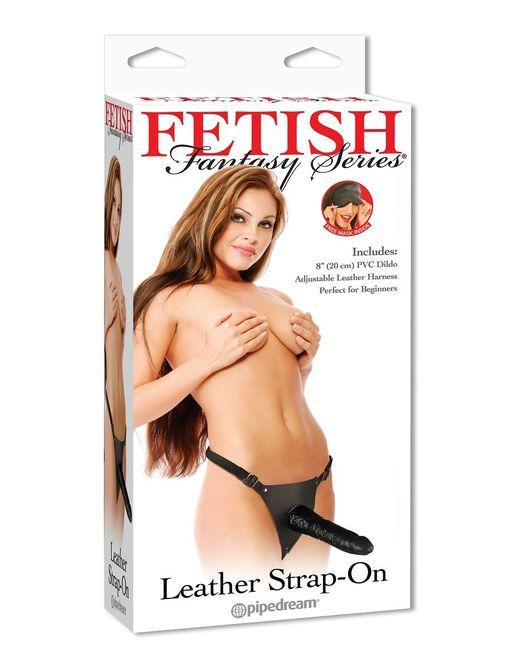 Гелевый страпон с кожаными трусиками Leather Strap-On - 19 см.