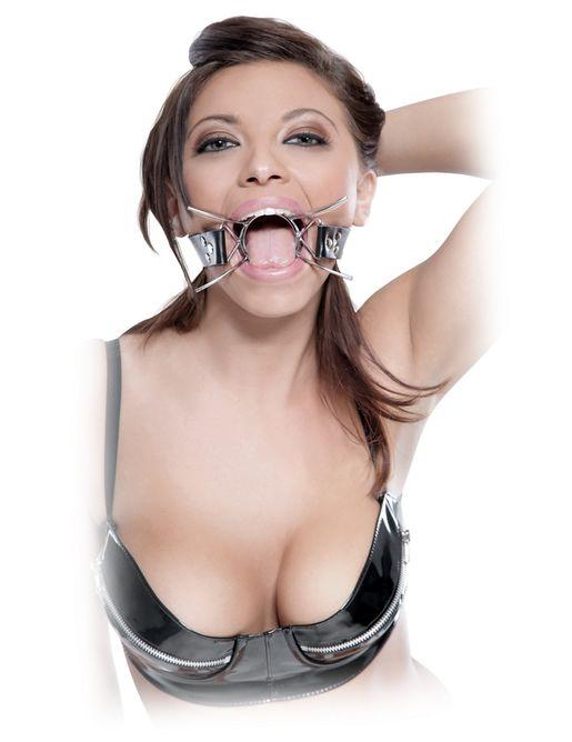 Металлический расширитель для рта на кожаном ремешке Spider Gag
