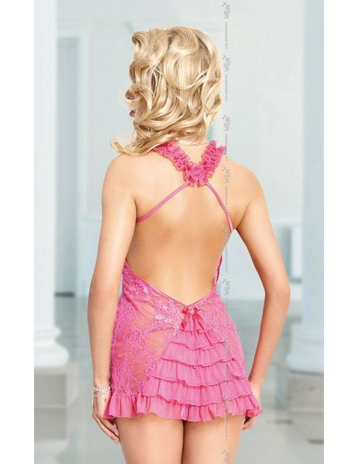 Кружевная сорочка Mia с открытой спиной и трусики-стринг